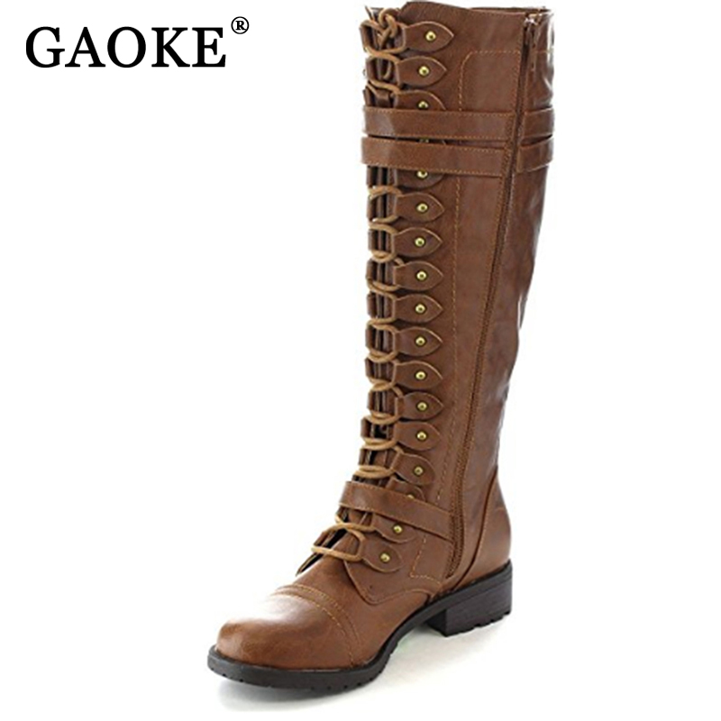 GAOKE 2017 Fashion Women Lace Up Riding Boots Chunky Low Heel Knee High Boots Buckle Side Zipper Up Winter Shoes Plus Size 43 lace up plunge neckline high low sweater