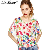 LINSHOW Floral Printed Bandage Woman Tshirt Top Fashion Drawstring O Neck Funny T Shirts Seaside Party