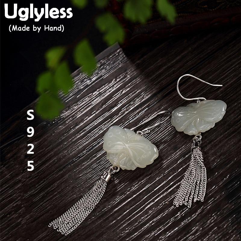 Boucles d'oreilles papillon Jade naturel en argent Sterling 925 Uglyless S femmes Bijoux ethniques glands Brincos Bijoux fins faits à la main
