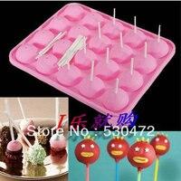 En gros/au détail, livraison gratuite, 20 trou lollygags silice gâteau de gel moule chocolat moule avec 25 papier stickes22.5 * 18 cmboxed