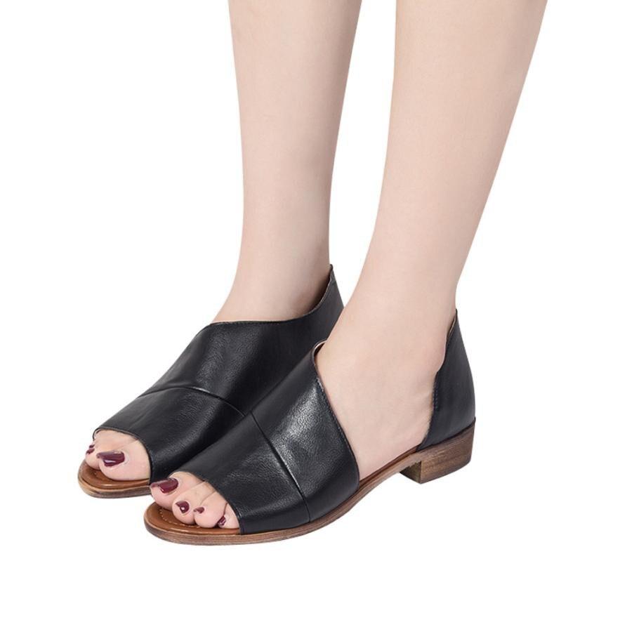 6c4b5bcaf9a6d Sandales femmes d été 2018 chaussures à semelles compensées sandales femmes  Femmes Couleur Bout Pointu Faible Talon Rome chaussures Sandales chaussures  ...