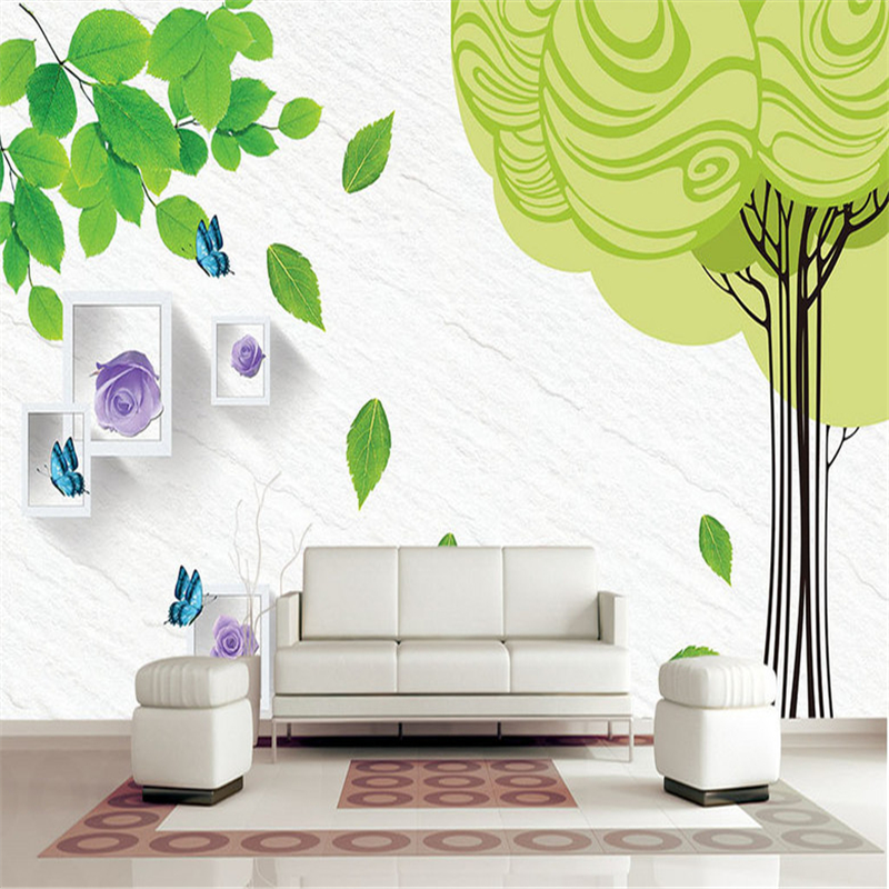 Simple 3D Wall Paper for Walls Abstract Trees Non-Woven Wallpapers Green Leaf Purple Rose Mural Living Room Decorative Wallpaper