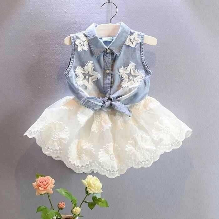 2018 nuevo Niñas mezclilla camisa chaleco + gasa blanca falda 2 ...