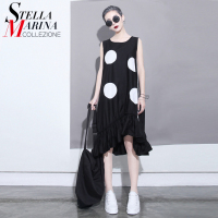 Women Summer Black Dress Large White Dots Sleeveless Ruffles Swings Kawaii Casual Cotton Dresses Female Vesditos