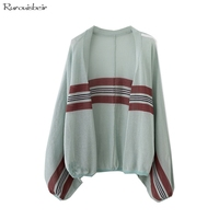Casual Summer Long Sleeves Cardigan Women Contrast Striped Sweater Knitwear Spring and Summer Batwing Sweaters Ladies Coat