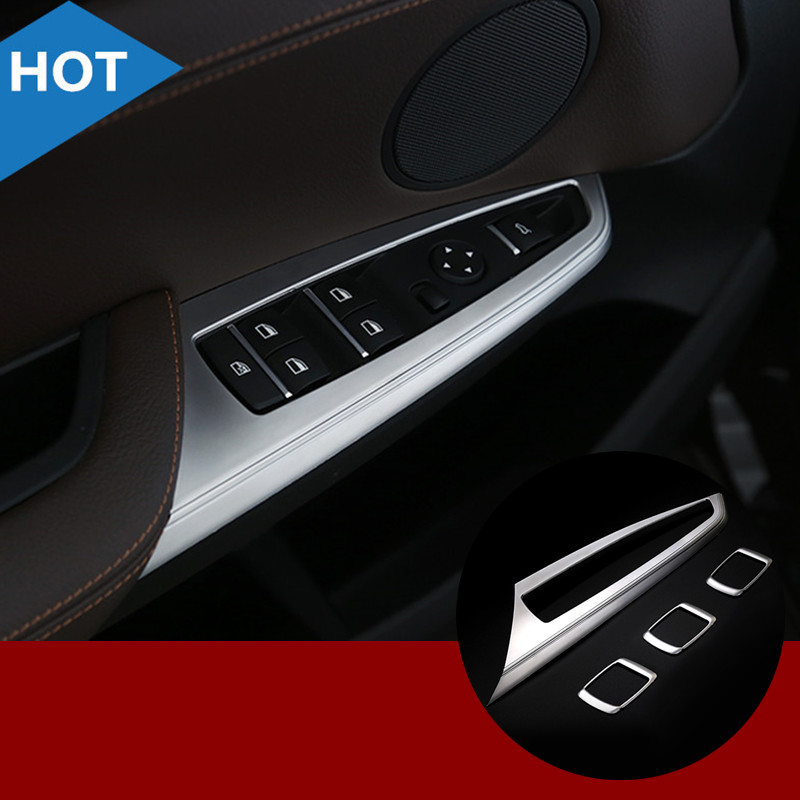 For BMW X3 F25 ABS Inner Door Window Switch Button Cover Trim 2011-2015 4pcs 2pcs chrome abs rear back window wiper cover trims for bmw x3 f25 2011 2015 car styling accessories