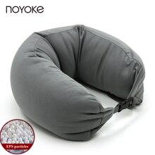 NOYOKE estilo Japonés EPS Poliestireno Partículas en forma de U Almohada de Viaje Cuello Almohada de Algodón Nylon Cómoda Almohada para el Cuello