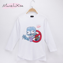 2019 New Kids Clothes Children T-shirt Zombie Print 100% Cotton Full Long Sleeve Boys T Shirts Baby Girl Tops Tee Free Shipping
