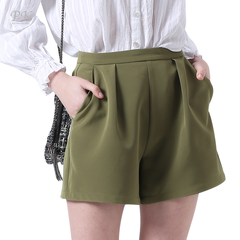 PK Green Shorts Women Feminino Army Plus Size Summer Beach Green Shorts Feminino Fashion Zipper Beach Summer Girls Shorts Women