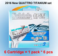 6 cartridge/lot 2016 New Original Package Genuine Quattro Titanium comfortable replacement Manual razor blade men Free Shipping