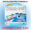 6 cartucho/lote 2016 Nova Embalagem Original Genuíno Quattro Titanium substituição confortável Manual de lâmina de barbear homens Frete Grátis
