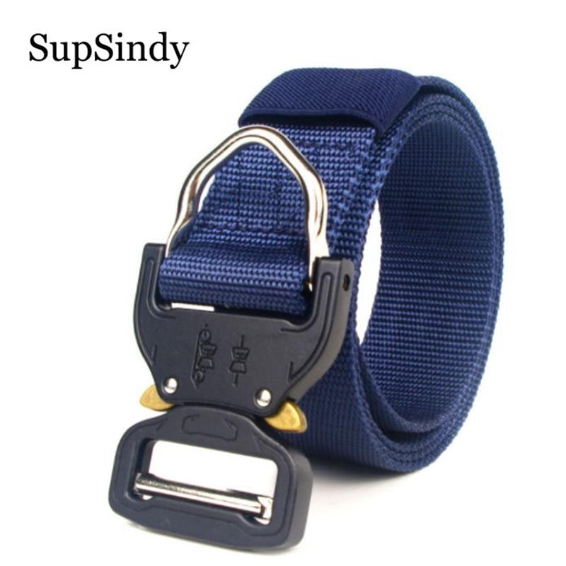 SupSindy Men&Women Tactical Belt 90--200cm Quick release Military Nylon Belt Outdoor multifunctional Training Belts High Quality