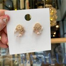 MENGJIQIAO новые серьги-гвоздики в богемном стиле с жемчугом и кисточками для женщин, элегантные Кристальные подвески для женщин, маленькая безделушка