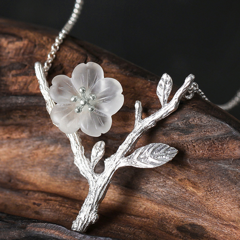 Lotus Fun Real 925 Sterling Silver Handmade Designer Fine Jewelry Flower in the Rain Necklace with