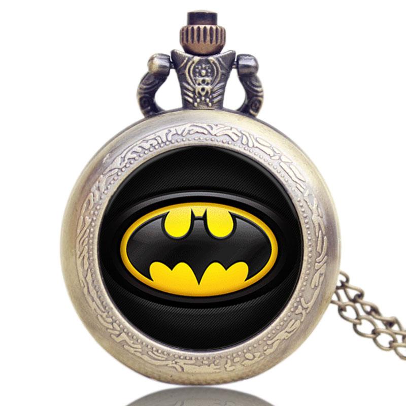 Retro Cool Batman Badge Pendant Bronze Long Chain Necklace Pocket Watch Quartz Vintage Steampunk Mens Boys Cosplay Gift