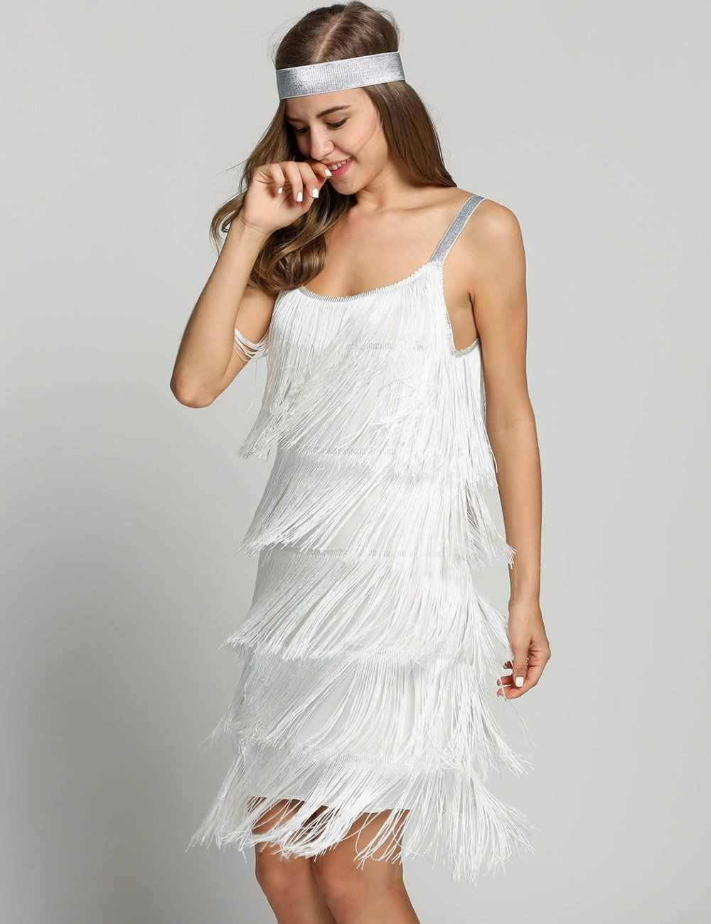 1920s Great Gatsby Dress Slash Neck Stry Tiered Fringe Vintage Fler Party Fancy Costumes With Headband