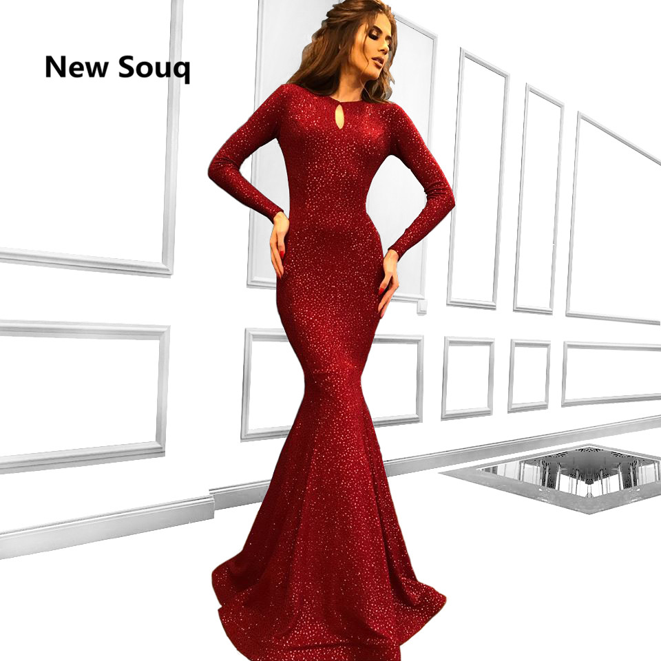 Simple Burgundy Mermaid Evening Dresses With Sequins Long Sleeves Evening Gowns 2019 Arabic Middle East Long Prom Dress
