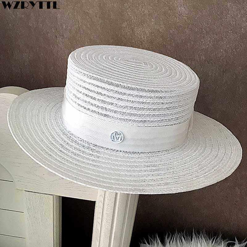 2fcefcc2e SHOWERSMILE White Women's Summer Sun Hat British Style Straw Ladies ...