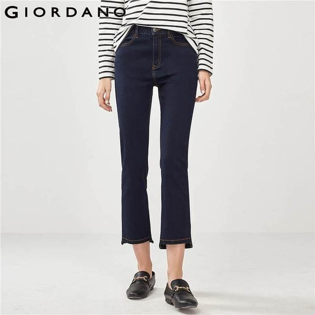 00680067b880c Giordano Women Denim Jeans Women High Rise Straight Fit Denim Jeans Woman  Ankle Length Denim Jeans Zip Fly Button Jeans Femme