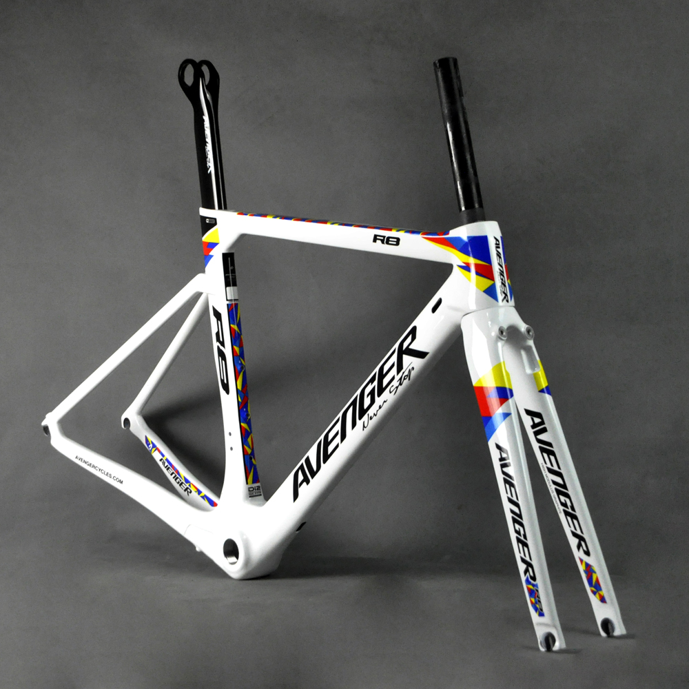 Cheap 700C Carbon Aero Road Avenger Bike Frame R8 Rim Brake Marco Bicicleta Frame Carbon Racing Road White Glossy Finsh With QR