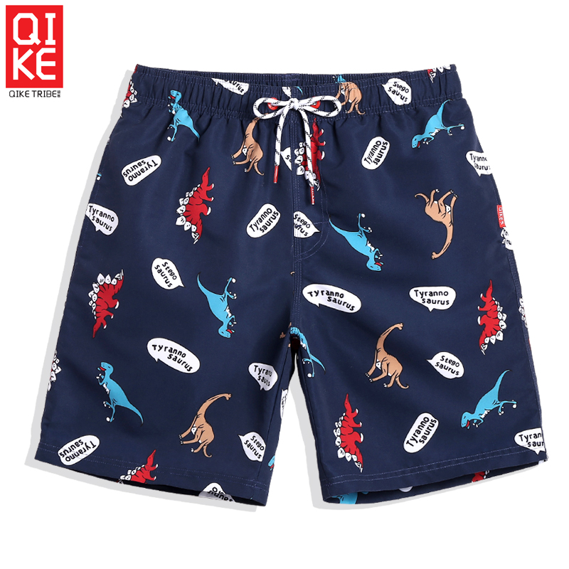 Beach   Shorts   Men Cute Dinosaur Printed   Board     Shorts   Men Plus Size Swimming   Shorts   Mesh Padded Maillot Bain Homme Quick Drying