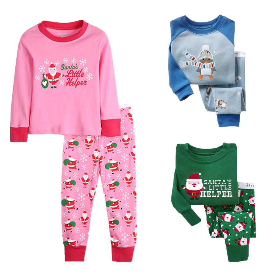 Merry Xmas Kids Baby Boys Girls clothes Xmas 2pcs Nightwear Sleepwear Pajamas Set long sleeve Tops+Pants Outfits 2-8Y 3colors