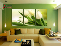 3 Piece Modular Picture Canvas Print White Tulips Paintings and Framed for Kitchen Wall Art Home Decor Photo Print Free shipping