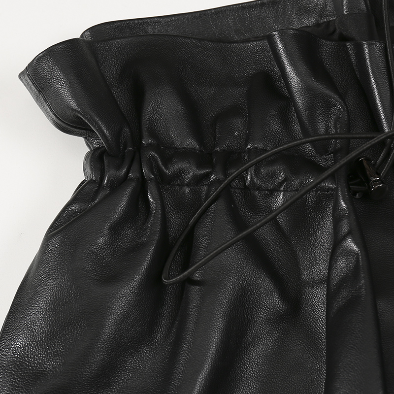 Largos Cuero Pantalones Nueva Cintura Las Elástica Negro Genuina De 2018 Oveja Mujeres Invierno Piel Señoras Black Moda Real wOOxPraY