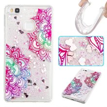 For HuaWei P8 P9 Lite Case Fashion Dynamic Liquid Glitter Skull Head Flower Butterfly Owl Tower Quicksand TPU Soft Back Cover