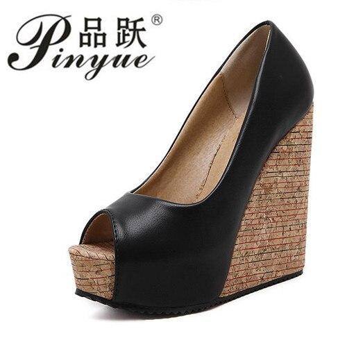 1939620d2004 Brand Open Toe Women High Heels Wedges Platform Sandals Shoes Women Big  Size 34-39 Summer Causal Pu Solid Black Apricot