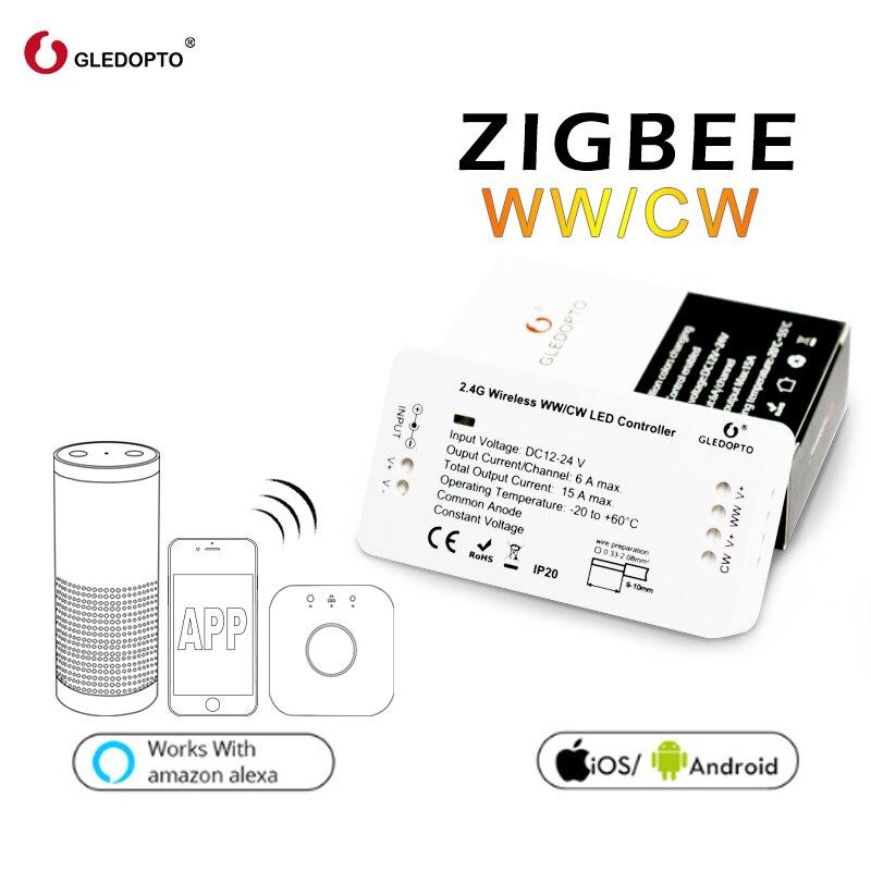 GLEDOPTO ponte ZIGBEE Controlador Led ww/cw Controlador tira dimmer DC12/24 V zll padrão led