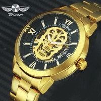 WINNER Official Steampunk Watches Automatic Mechanical Skull Watch Men Gold Skeleton Dial Stainless Steel Strap Royal Wristwatch