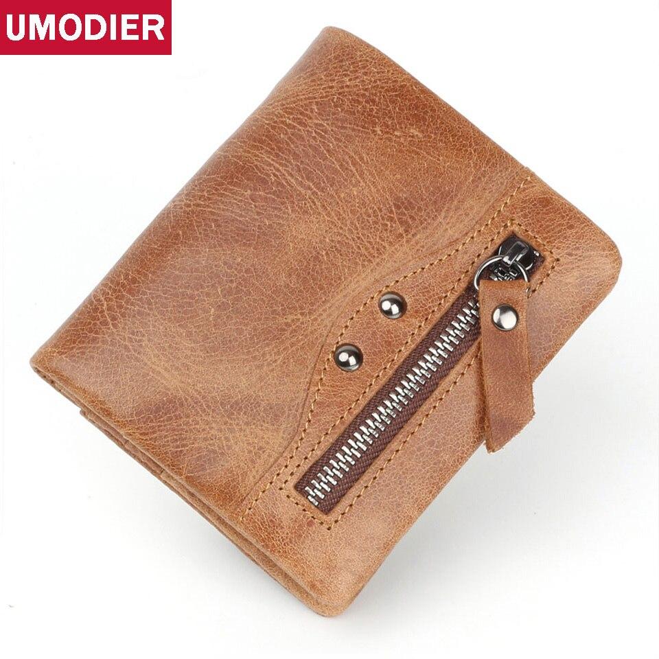 UMODIER Genuine Leather Wallet Men PORTFOLIO MAN Male Small Portomonee Vallet Slim Rfid Fashion Mini Walet Brand Carteira Perse