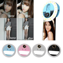 цена на Portable Flash LED ringlight Selfie Ring Light Beauty Live Stream Enhancing Lamp with Wide Angle/Macro Phone Camera Lens
