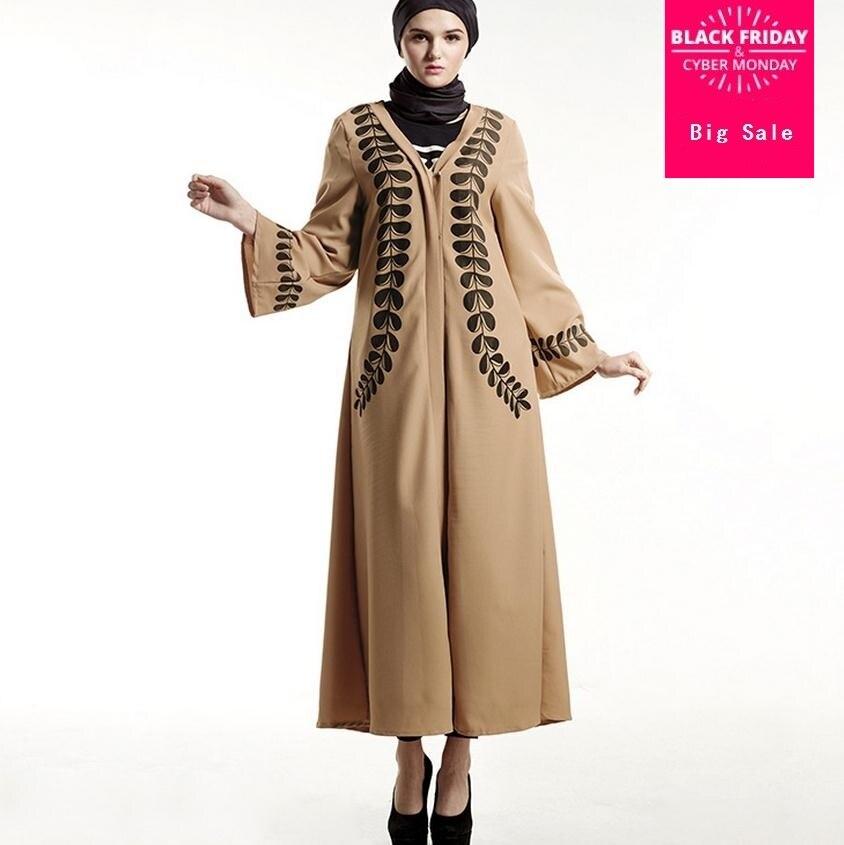 Big Size 2018 Adult Printed Style Cardigan Robes Musulmane Turkish Abaya Muslim Cardigan Robes Arab Worship Service Wj223