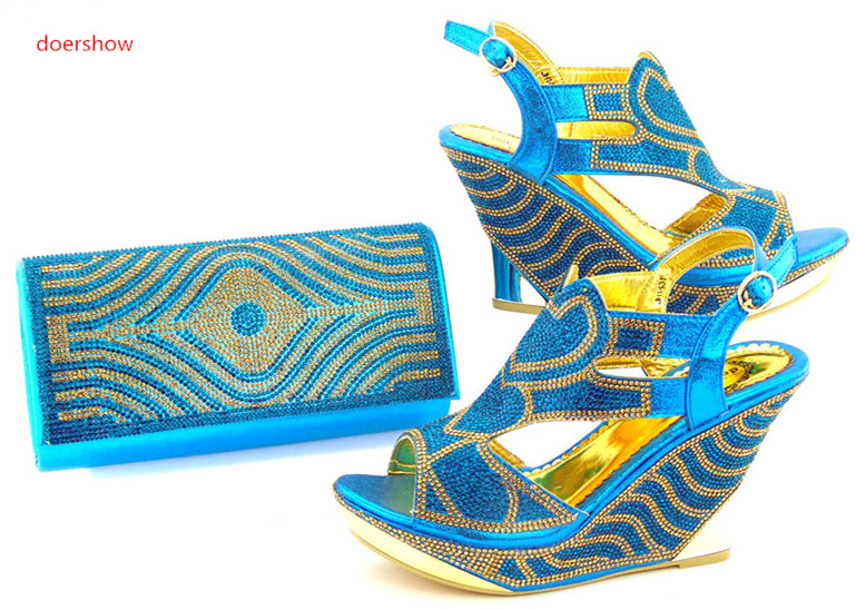 doershow  Italian Shoe with Matching Bag Set Decorated with blue African Shoe and Bag Set To Match for Party DK1-2 doershow italian shoe and bag set african lady shoes matching wedding party dress for free shipping puw1 11
