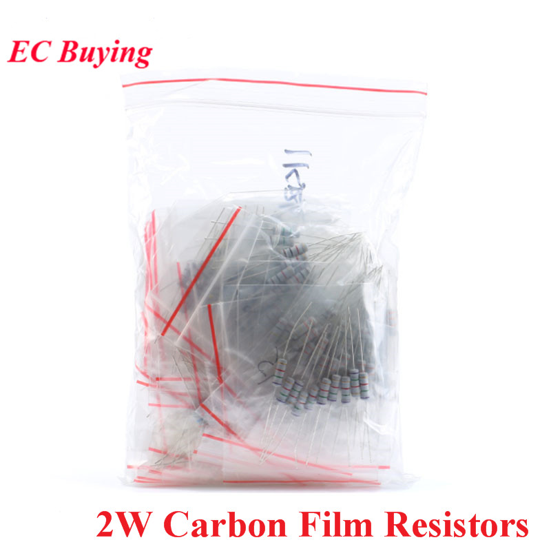 150pcs 2W Carbon Film <font><b>Resistors</b></font> 0.1 <font><b>Ohm</b></font> to 750 <font><b>ohm</b></font> 1K to 2M 5% Resistance Assorted Assortment Kit <font><b>30</b></font> Values*5pcs image