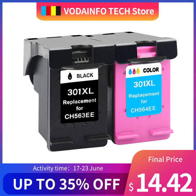 QSYRAINBOW 1 pack Ink Cartridge compatible for HP 301 301XL INK DeskJet 1050 2050 3050 2150  1510 2540 printer full ink