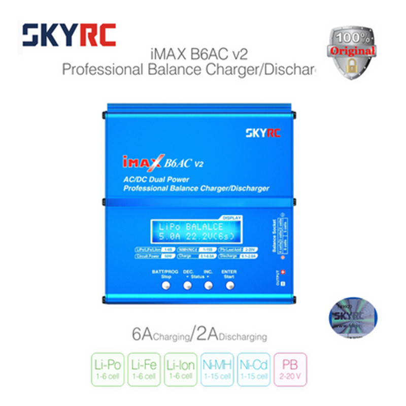 Original SKYRC B6AC V2 Battery Balance Charger Intelligent Digital LCD Display Discharger For RC Drone Helicopter EU/US Standard keenstone intelligent balance battery charger 6a 100w customzied for yuneec typhoon q500 rc drone with led screen us eu uk plug