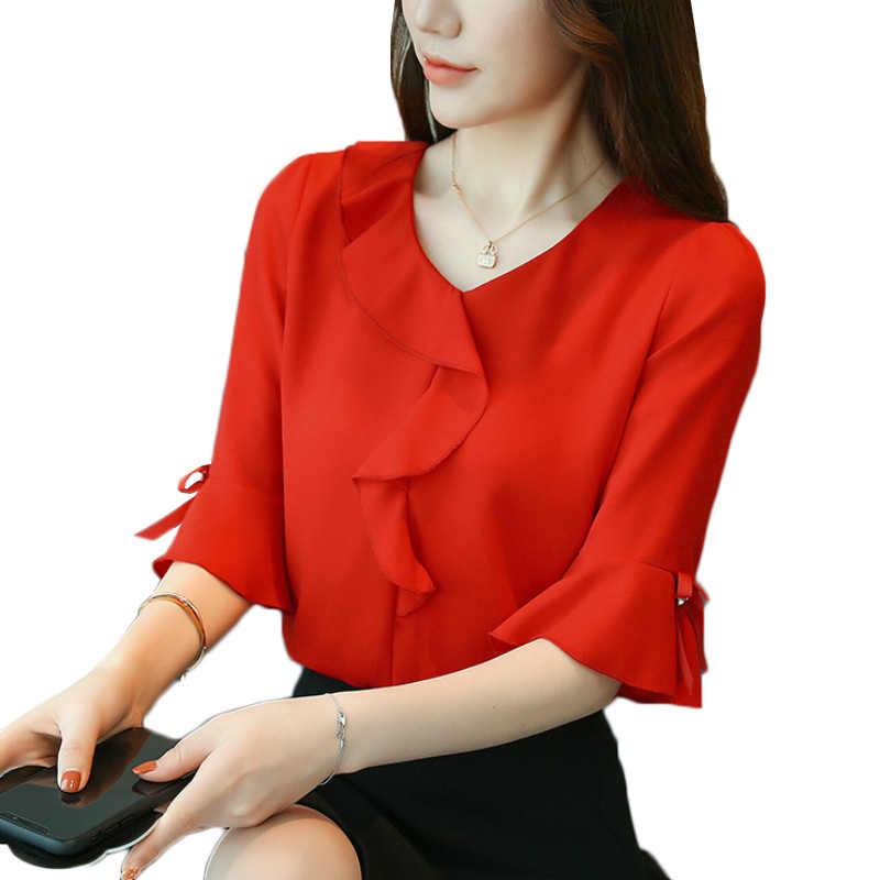 2019 여름 여성 쉬폰 블라우스 벨 슬리브 레드 숙녀 사무용 여성용 셔츠 플러스 사이즈 작업 탑 플러스 사이즈 캐주얼 여성 의류