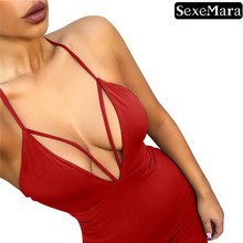 SexeMara Women's Dresses  Summer Sexy Low-Cut Deep V-Fold Sling Sleeveless Solid Color Openwork Dress недорого