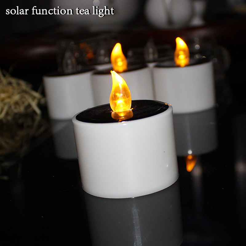 Newest 6 Pcs Solar Power LED Candle Light Flameless Flicker Lamp for Hotel Bar Home Church