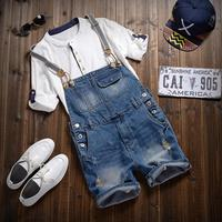 Free Shipping 2016 Men S Ripped Jean Overalls Mens Denim Bib Overalls Blue Shorts Jumpsuit Mens