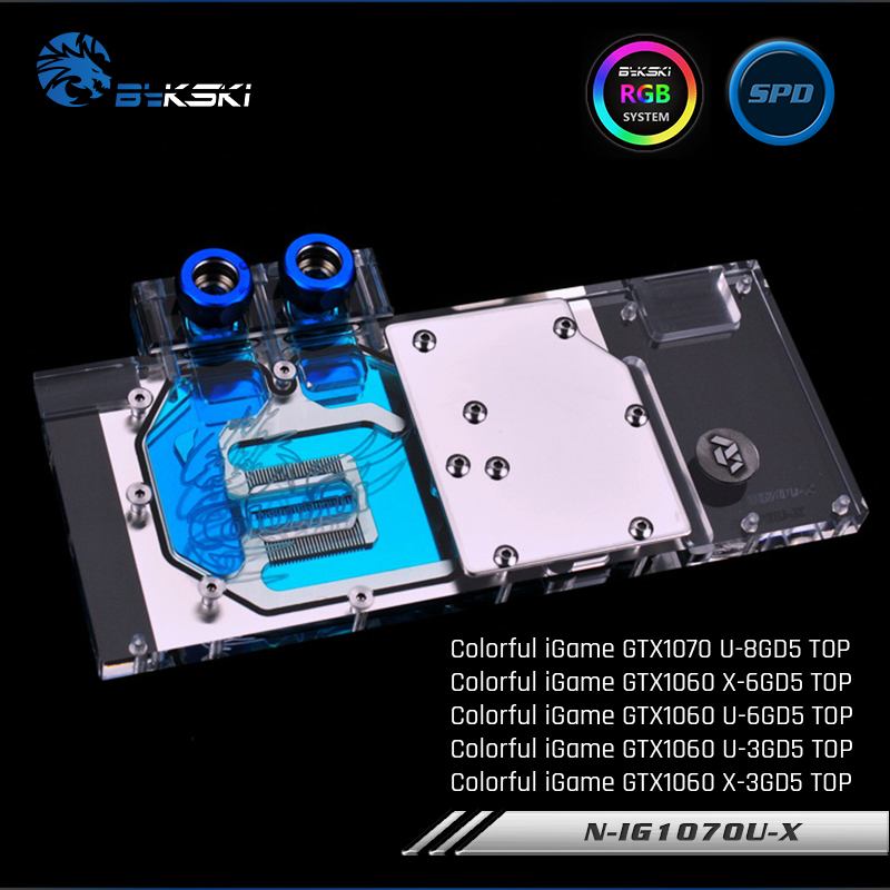 Bykski N IG1070U X Full Cover Graphics Card Water Cooling Block For Colorful iGame GTX1070 U