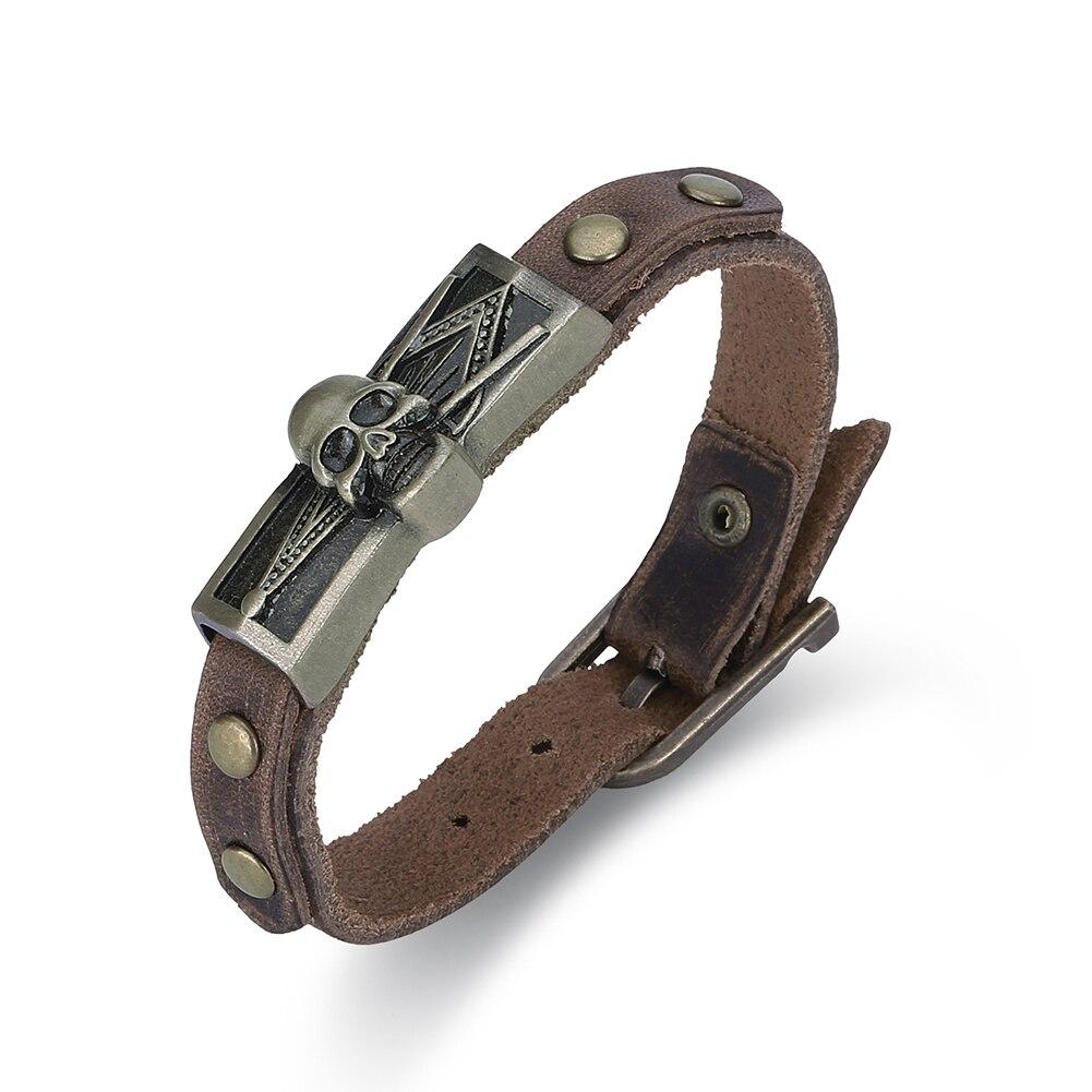 skull pattern brown color bracelet for men,men cowhide leather bracelet with zinc alloy,adjustable bracelet 9.4 Inch strand