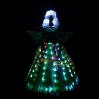 LED Clothes Luminous Costumes Princess Dress Glowing Wedding Long Dress Flower Fairy Ladies Night Bar Lighting Women Tutu Skirt