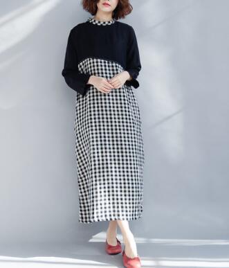 New arrival Vintage Long sleeve polka dot Print Long summer dress plus size women cloths np141