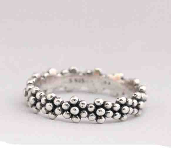 100% 925 Sterling Silver simple no stock vintage daisy flower band engagement stack simple silver ring