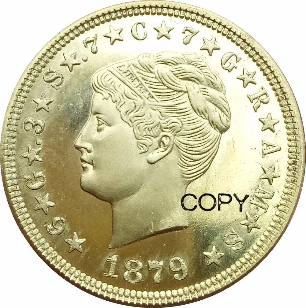 1879 ESTADOS UNIDOS DA AMÉRICA E PLURIBUS UNUM Uma Stella 4 Dólares Moeda De Ouro de 400 CENTAVOS-DEO GLORIA EST QUATRO FAZER Copiar Moedas de Bronze