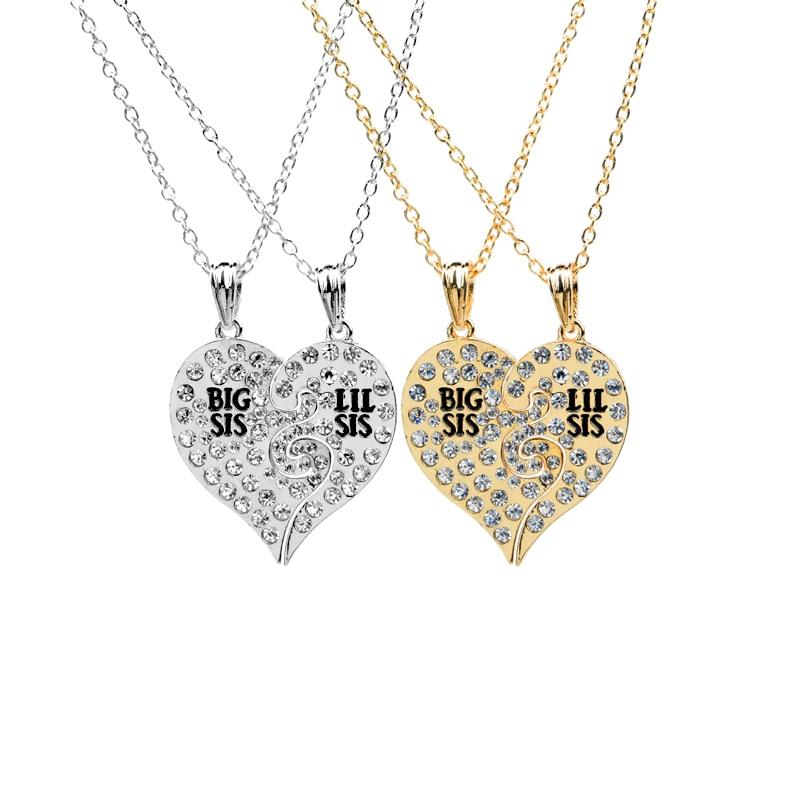BIG SIS LIL SIS Heart Broken 2 Necklace Letter Statement Necklace Girls Fashion Bijoux Christmas Gift for Child sister 2 Pcs/set